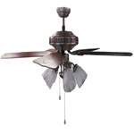 "Sakura 52"" 220 Volt Antique Brass Ceiling Fan with Four Lights SAKURA SA52PB, SA52PB, 220-240V, 220-240 VOLT, FAN FOR EXPORT, FAN FOR OVERSEAS, FAN FOR DESK FAN, EXPORT, INTERNATIONAL FAN"