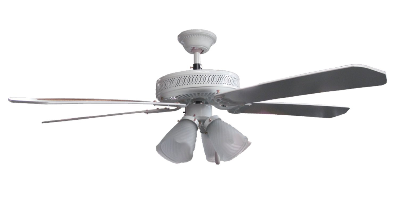 "Sakura 52"" 220 Volt White Ceiling Fan With Four Lights"