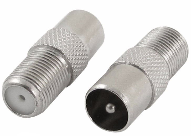 Coaxial PAL / NTSC Connector Adapter - Male Belling-Lee to Female US RF Coax